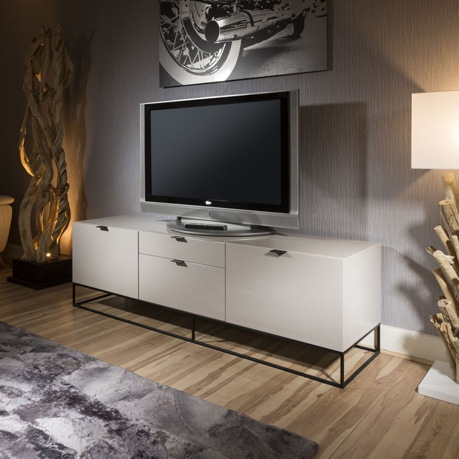 Tv Sideboard Modern Grey Gloss Tv Cabinet • Patio Ideas