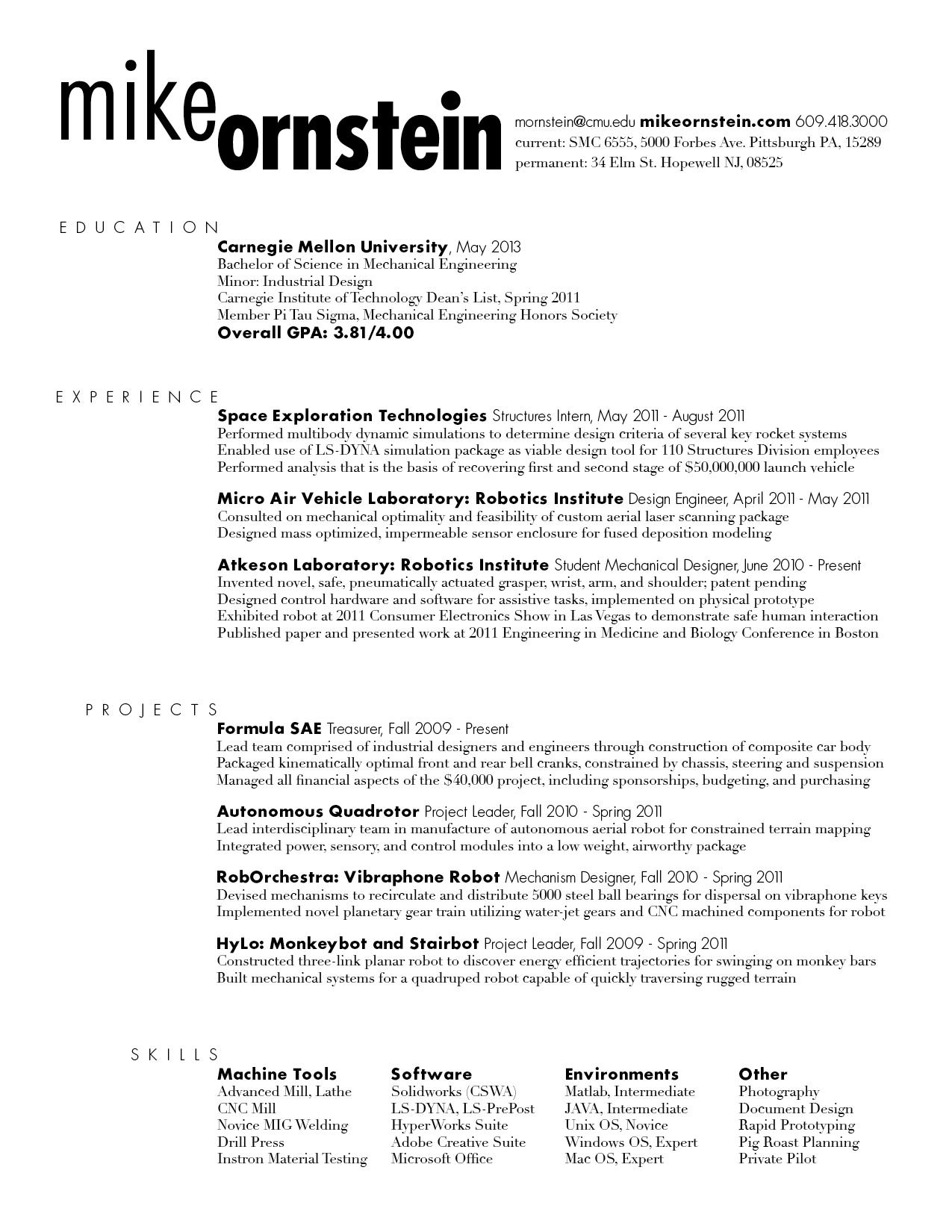 Sample Associate Cv Associate Cv Formats Templates Resume Rough Draft Mike Ornstein Cdf Fall 2011