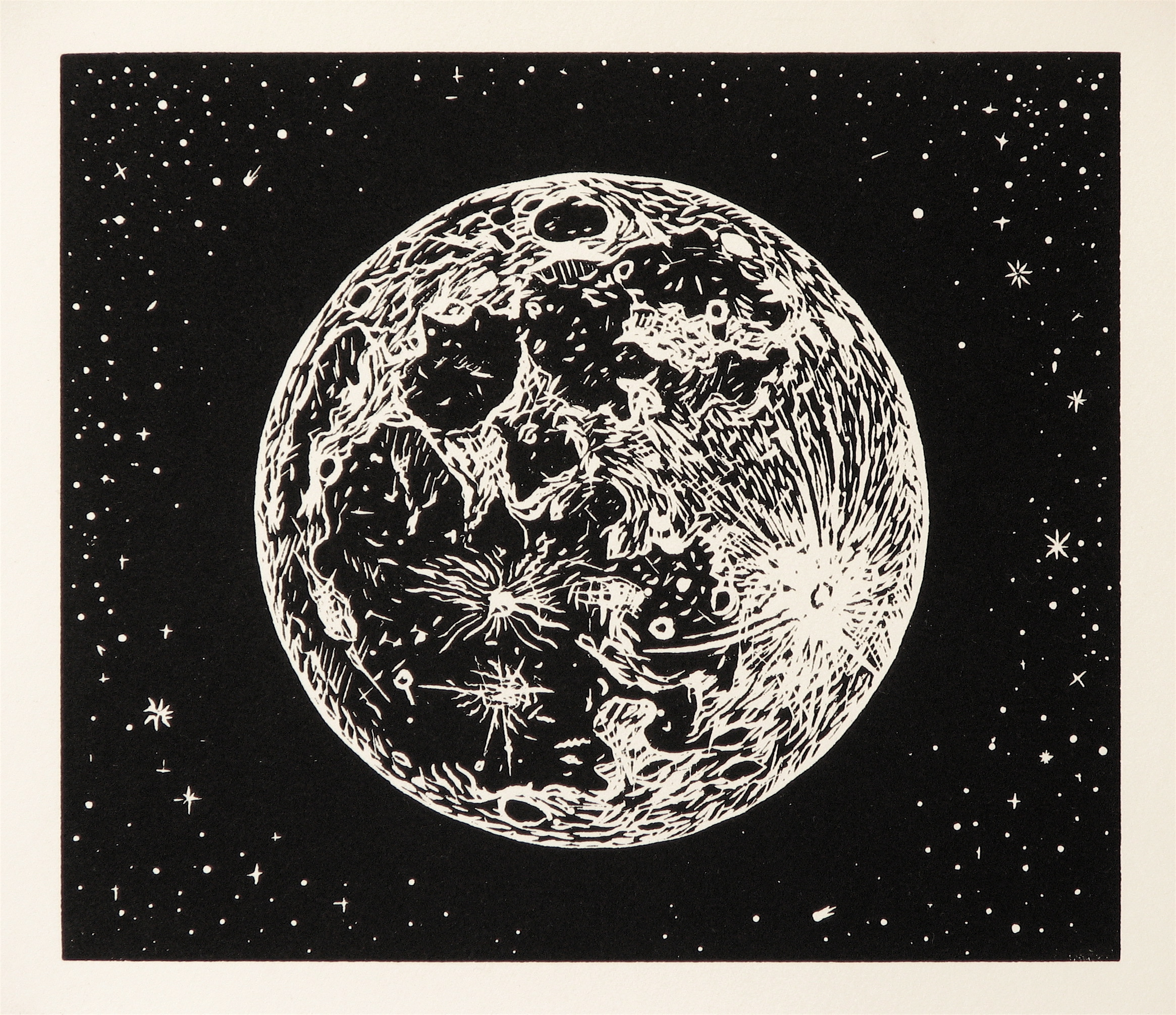 Full Moon Drawing Black And White Printmaking Mike Schultz Studio Blog Page 3