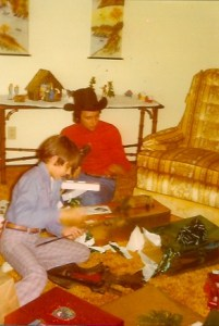 My first cowboy hat that went mysteriously missing a year later. I loved that hat! Circa 1975.