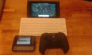 Motorola DEXT with Keyboard Extended. Bluetooth keyboard, Nexus Tablet and a Nyko Bluetooth Controller.