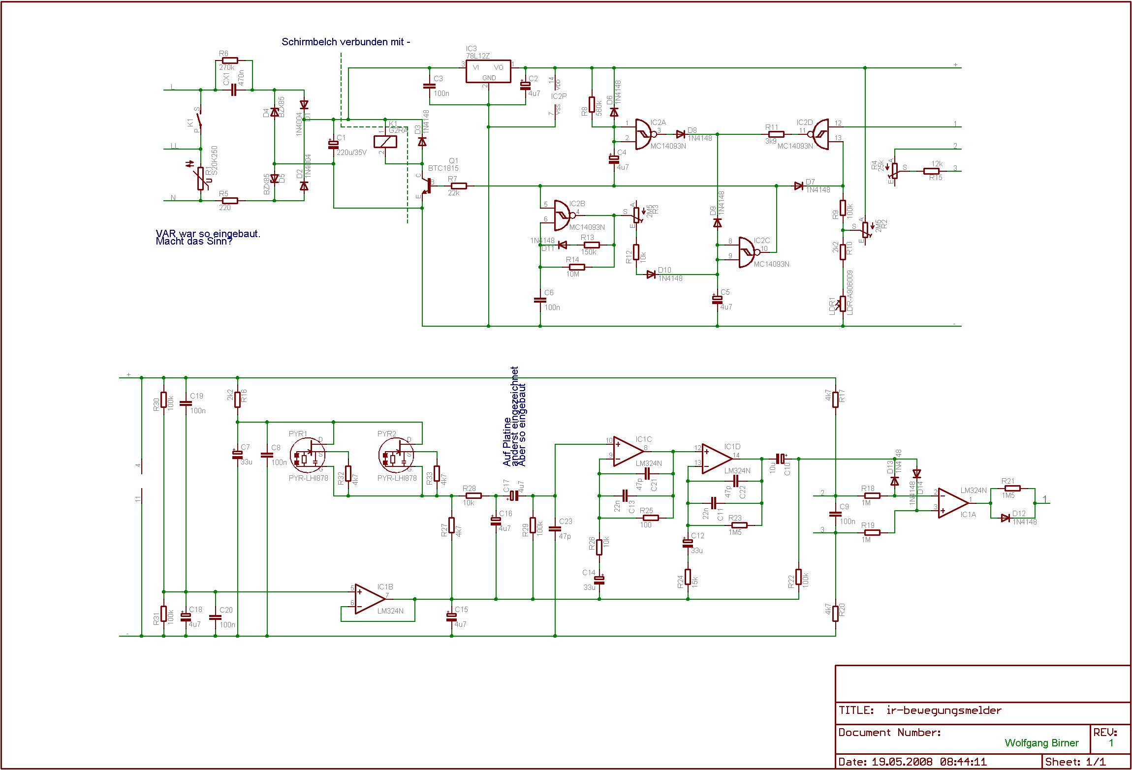 Schaltplan 2 Bewegungsmelder 1 Lampe