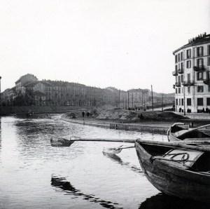 Una irriconoscibile Milano sull'acqua, da uno scatto di A. Chierichetti