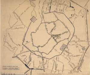 Una mappa della Milano post-unitaria, che fotografa ancora una città sull'acqua.
