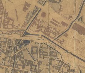 Foglio di mappa con il Laghetto di S. Marco e con l'innesto della Martesana nella fossa interna (dalla Carta di Milano di Giovanni Brenna, 1860)
