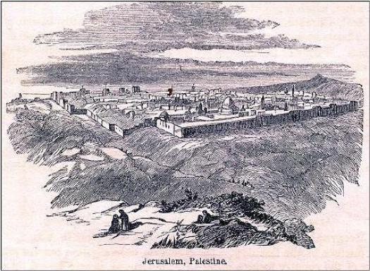 Stampa con la vista del Tempio nella Gerusalemme crociata