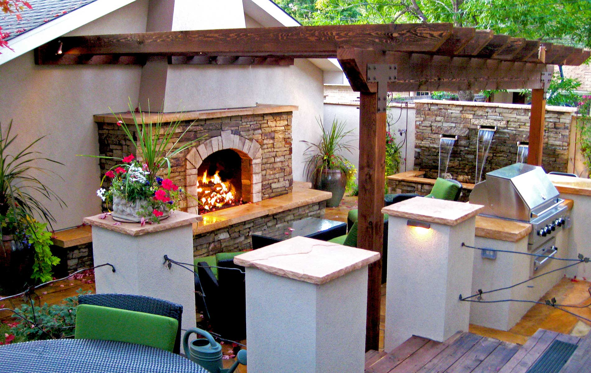 The fireplace and patio place - Mediterranean Courtyard Fireplace Mediterranean Patio Orange Mediterranean Courtyard Fireplace Mediterranean Patio Orange Wood Pergola And