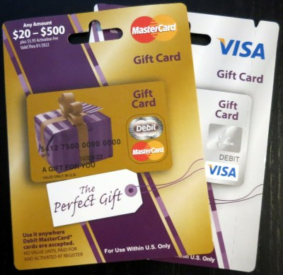Visa MasterCard Prepaid Gift Cards