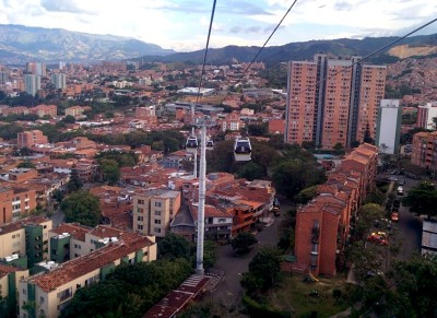 Medellin City Tour - Cable car above Medellin.