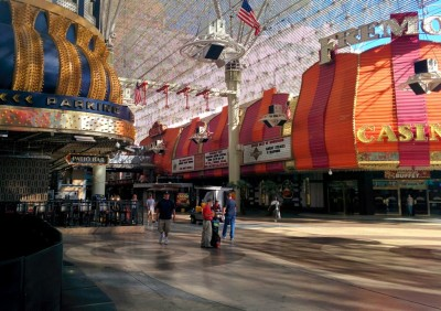 Looking down Fremont Street from the D. There are a lot of expensive dining options in the area.