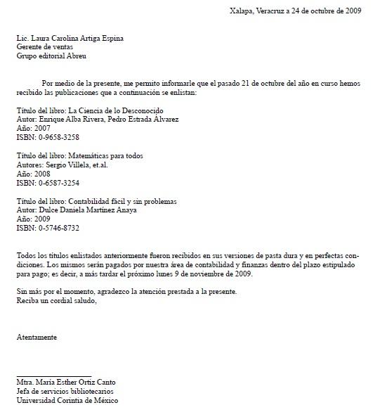 Carta de Recibido \u003e Formatos y Ejemplos Milformatos