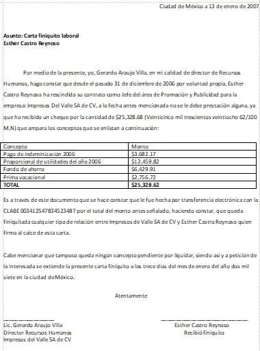 Carta Finiquito \u003e Formatos y Ejemplos Word para Imprimir