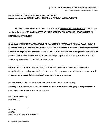 Carta de No Adeudo \u003e Formatos y Ejemplos Word para Imprimir