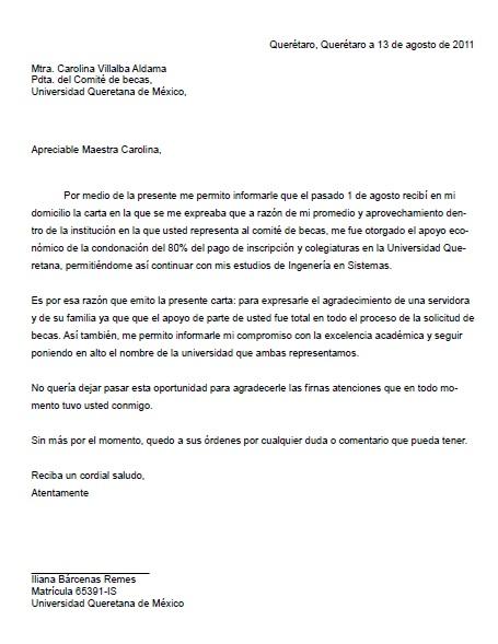 Carta de Agradecimiento \u003e Formatos y Ejemplos Milformatos