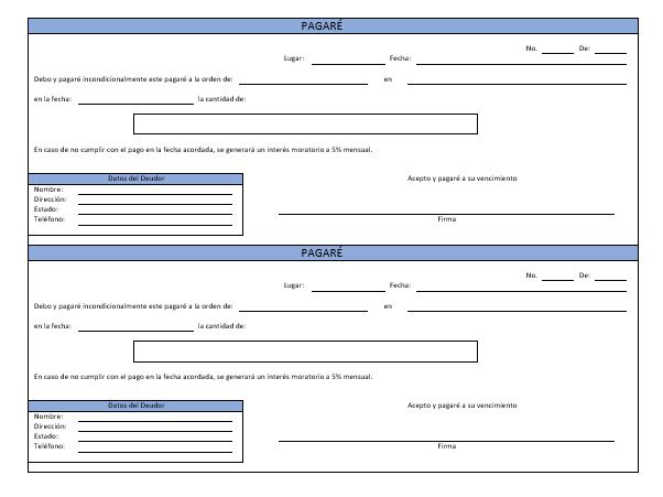 El Pagaré \u003e Ejemplos y Formatos Descarga Gratis Milformatos