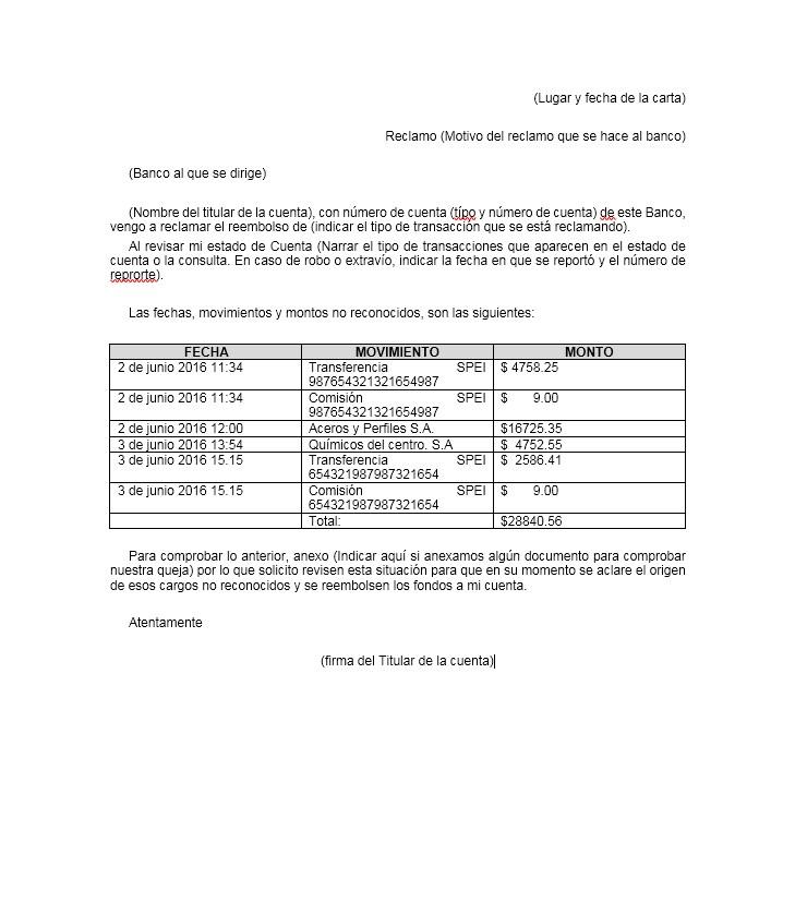 Carta de Reclamo al Banco \u003e Formatos y Ejemplos Word para Imprimir