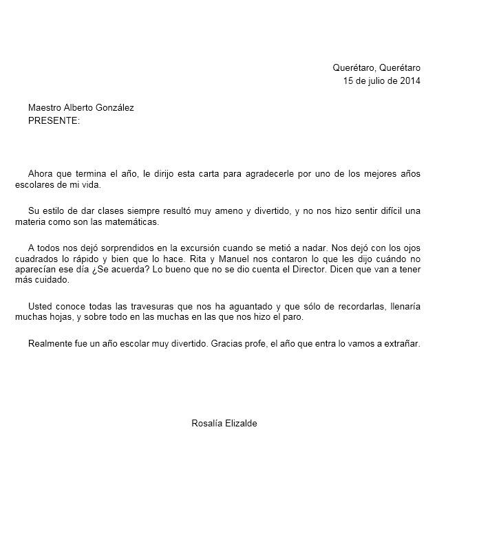 Carta de Agradecimiento a una Maestra o Maestro \u003e Formatos y