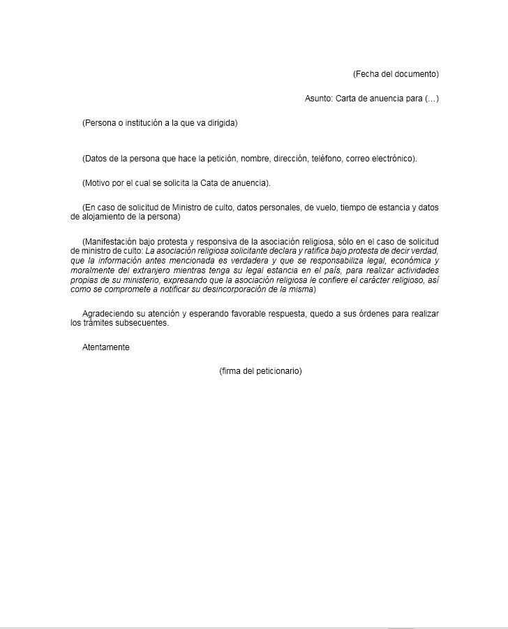 Carta de Anuencia \u003e Formatos y Ejemplos Milformatos