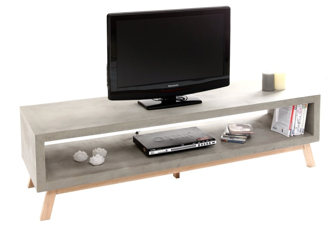 Meuble Tv Hiba Banc Tv Beton Fly – Table De Lit