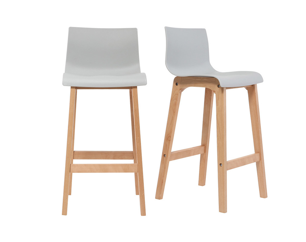 Tabourets Ilot Central Tabouret De Bar Design Bois Et Gris Clair 75 Cm Lot De 2