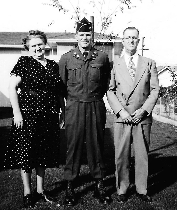 Bertha, Jake, and Olin Epperly, prior to Jake leaving for Korea (Author photo)