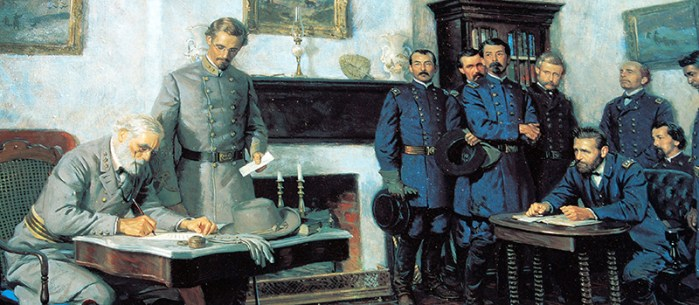 A dramatized prortrayal of Lee's surrender to Grant at Appomattox, 1965. (Image source: WikiCommons)