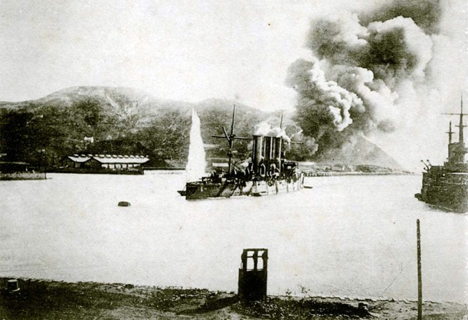 Japan mounted a surprise attack at the Russian navy harboured in Port Arthur. The attack was NOT preceded by a formal declaration of war. (Image source: WikiCommons)