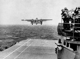 Jimmy Doolittle's  Army Air Corps B-25 lifts off from the USS Hornet (Image source: WikiCommons)