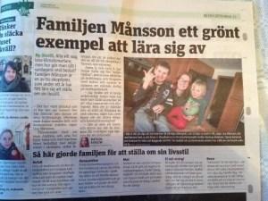 Metroartikel om familjen Månsson