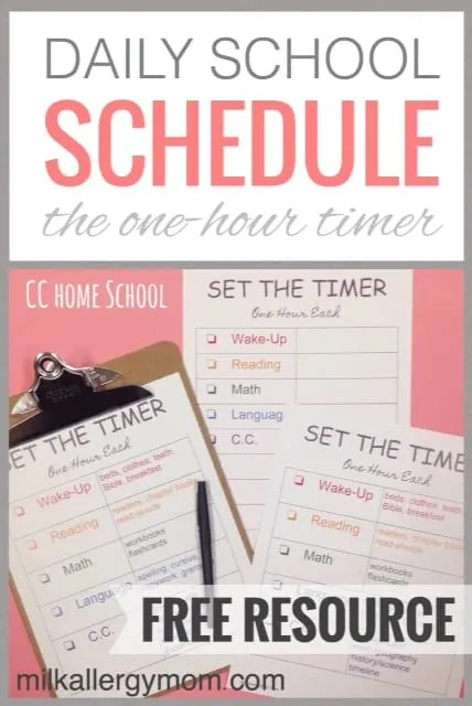 Daily Home School Schedule Set the Timer Free Printable!