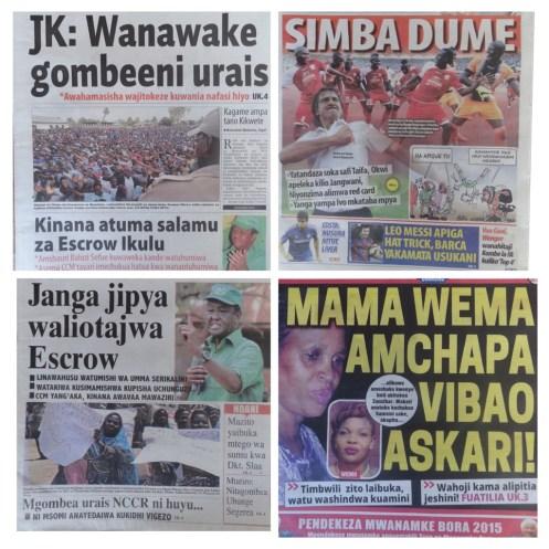 Umeona habari za Magazeti ya Udaku, Michezo na hardnews Tanzania leo