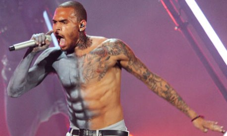 Chris Brown performs at the Black Entertainment Television awards show