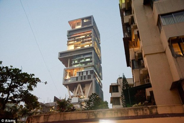 The Antilla in Mumbai, India, is owned by Mukesh Ambani and includes a staff of 600
