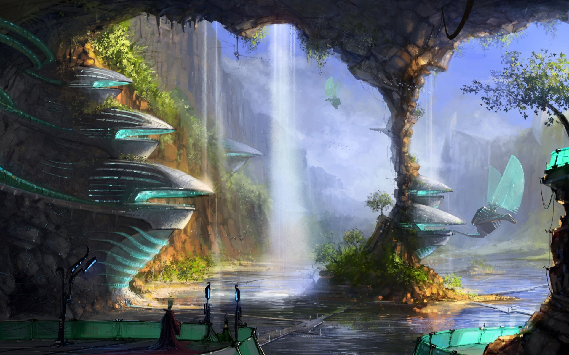 Cherry Blossom Anime Girl Phone Wallpaper Water Man Cave Column Falls City Phone Wallpapers