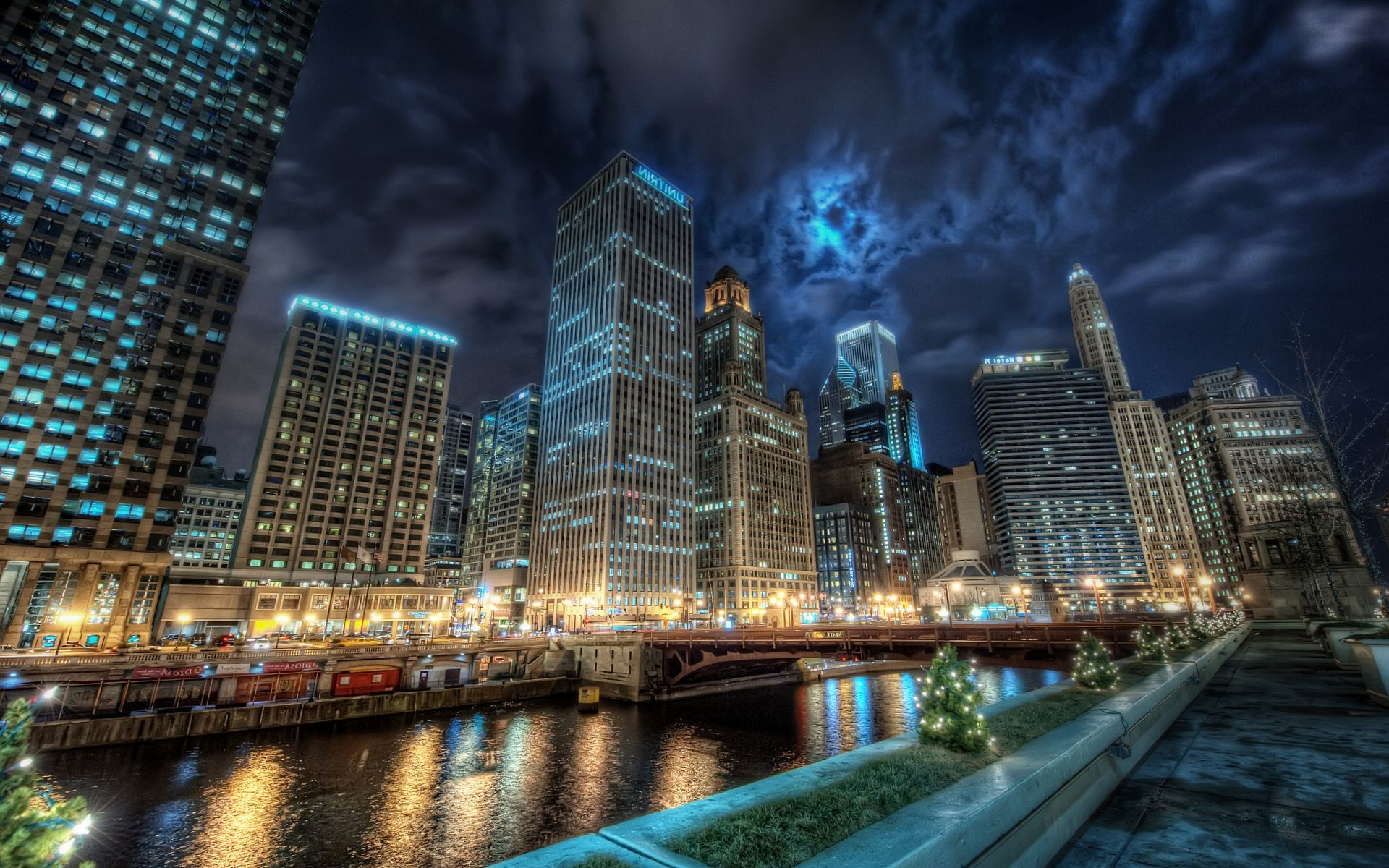 Anime Romance Wallpaper Water Reflection Night Lights Channel Chicago Chicago City