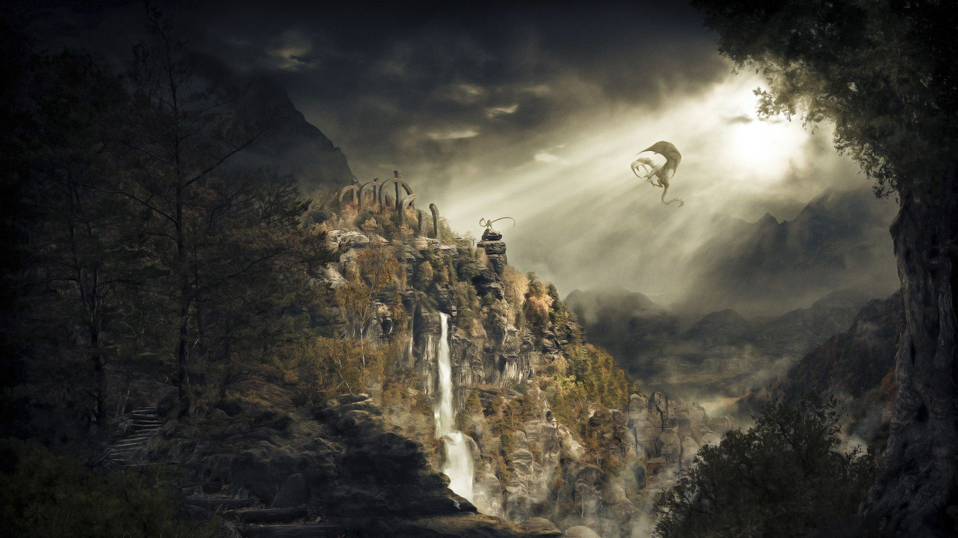 Cars Hd Wallpaper For Computer Waterfall Skyrim Dragonborn Dragon Mountain Android