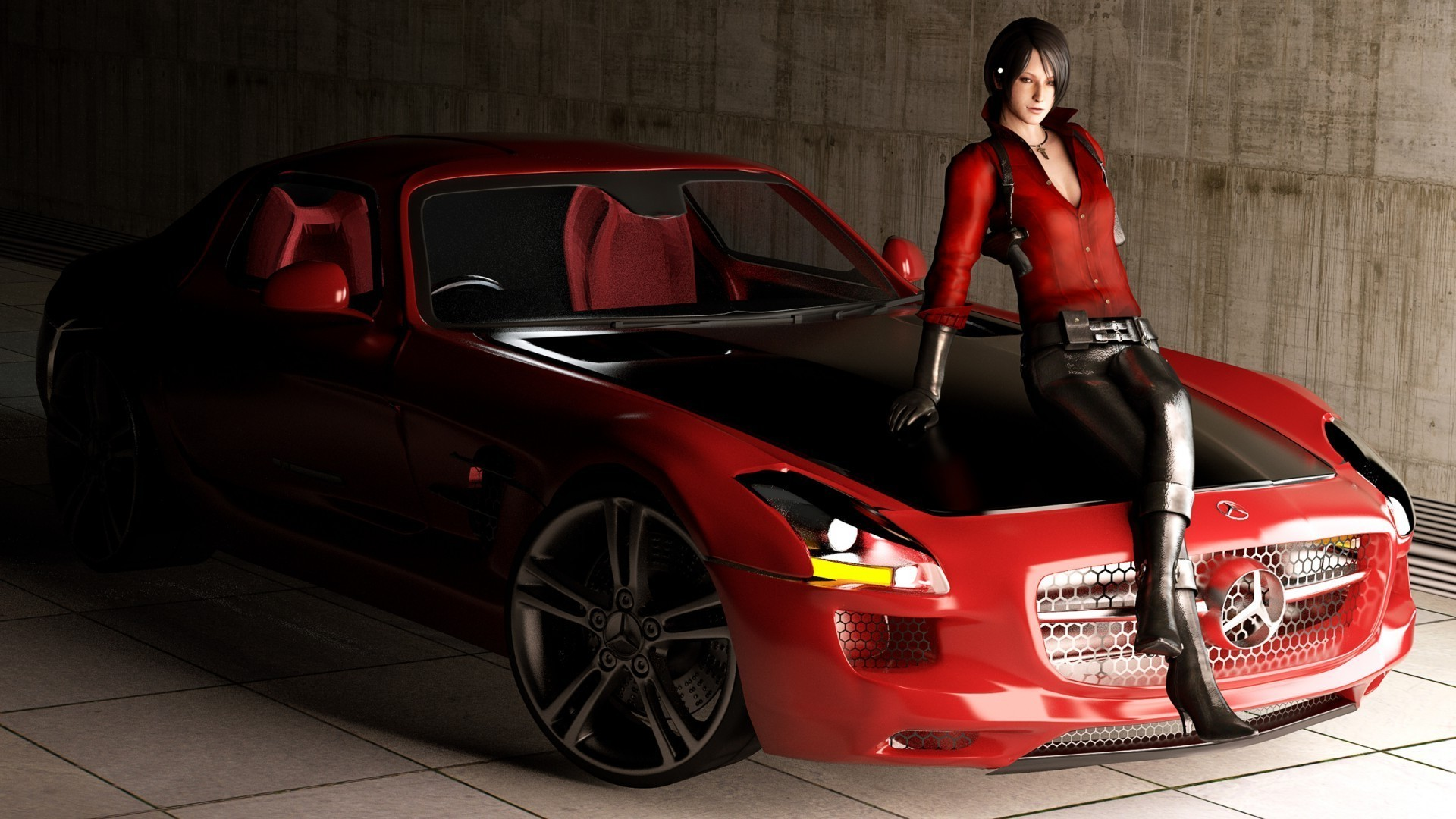 Mercedes Sports Cars Wallpapers The Girl In The Red Mercedes Benz Android Wallpapers For
