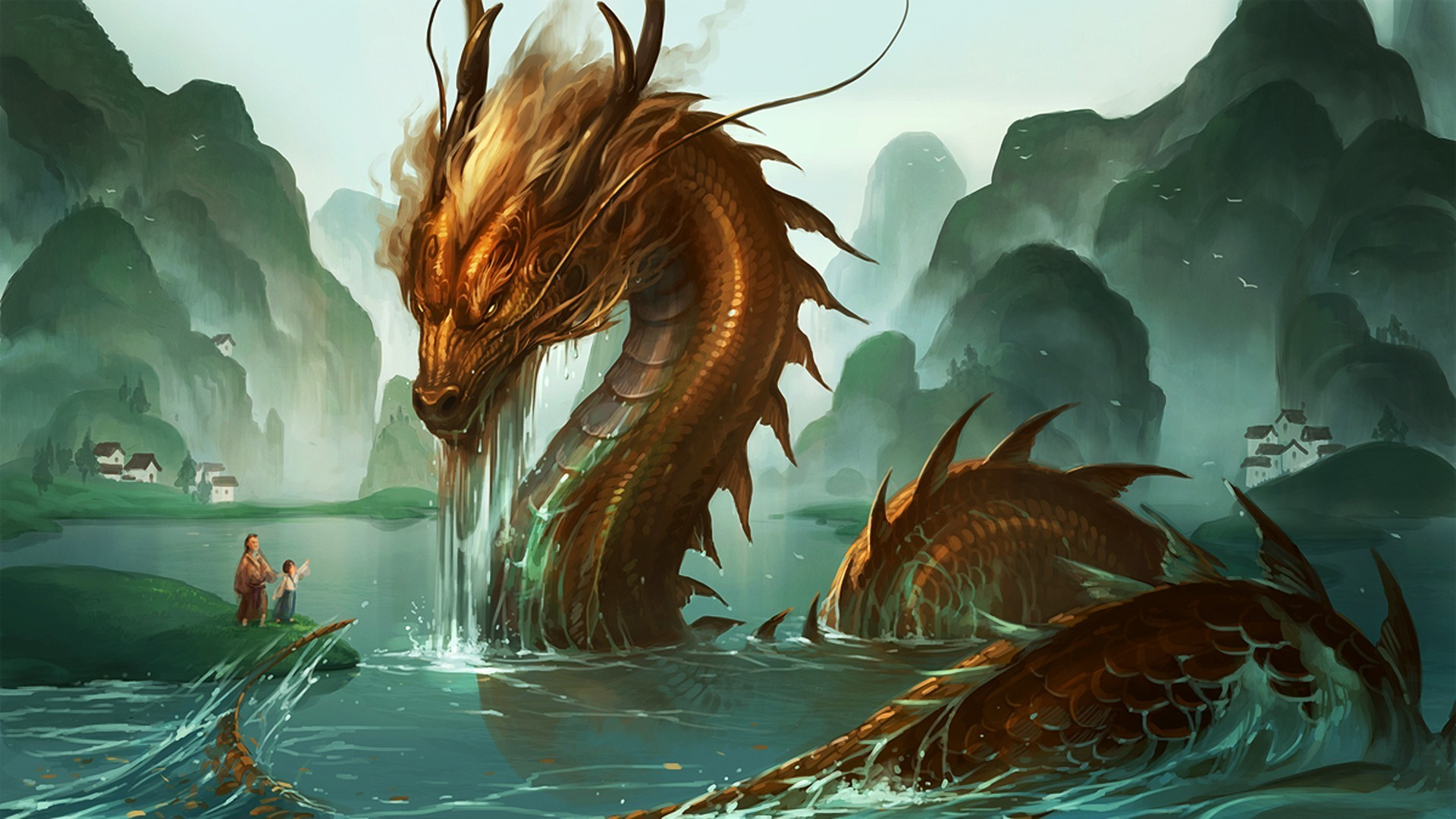 Android World Beautiful Girl Wallpapers The Dragon Rises Out Of The Water Phone Wallpapers