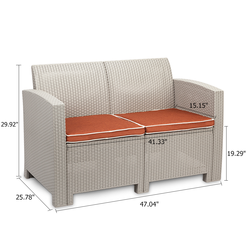 Garden Sofa Two Seater Details About 3pcs Weather Outdoor Patio Garden Furniture Sofa Set Love Seat And Coffee Table