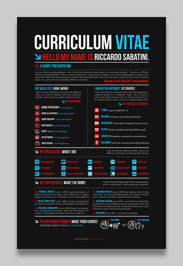 Curriculum Vitae Wikipedia Creative Cvresume Design Milners Blog