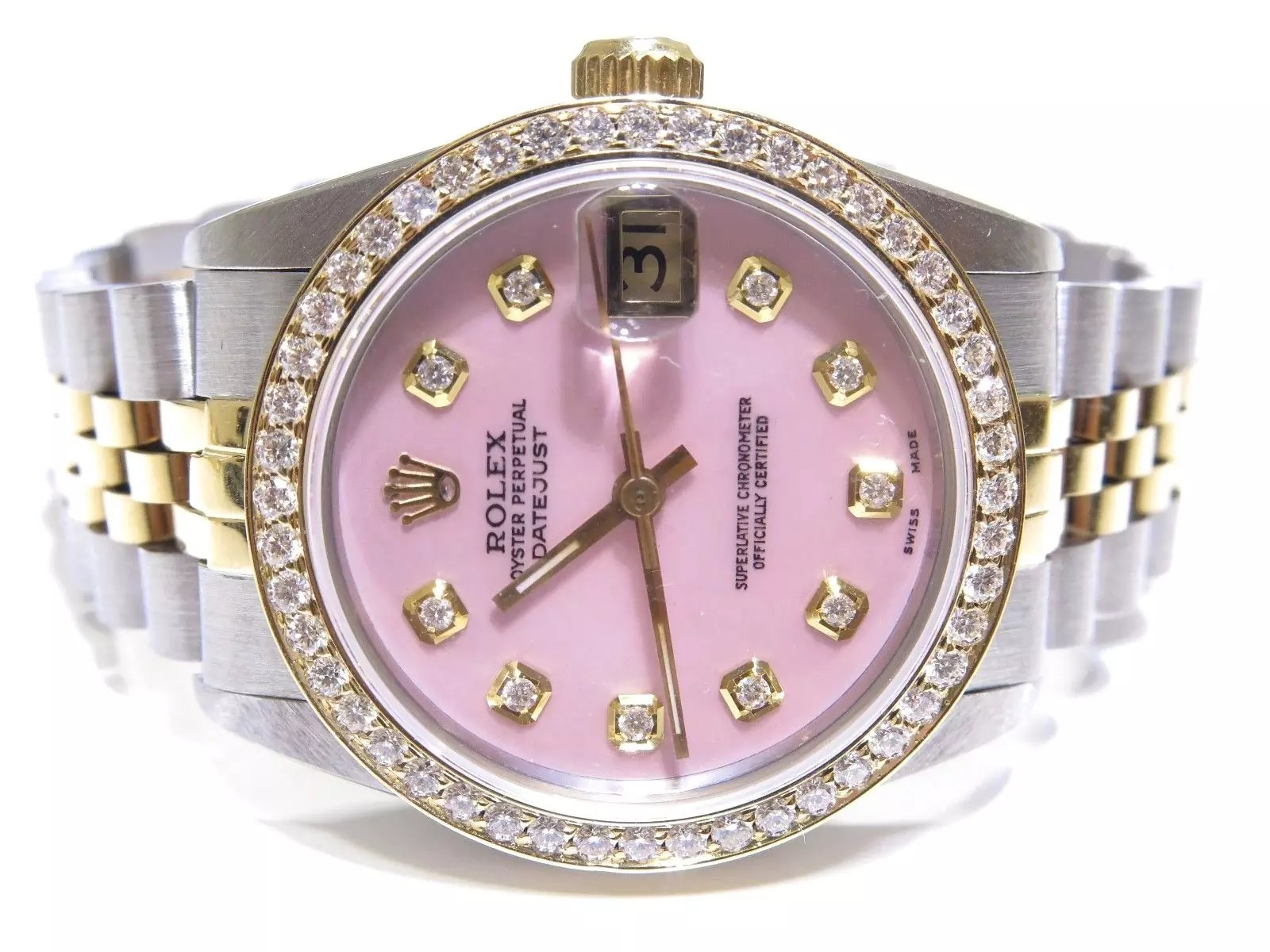 Rolex Ladies Watches Rolex Ladies Datejust Pink Diamond Dial Jubilee Band Two Tone Watch
