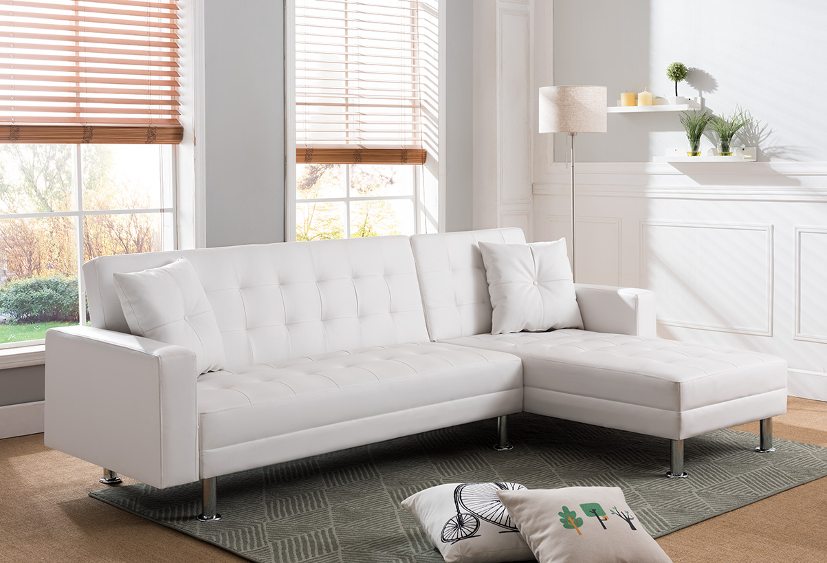 8036 White Tufted Faux Leather Sectional Sofa Bed 8036 Wh Milton Greens Stars Lowest Price Possible With Best Possible Value