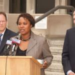 Senator Lena Taylor was joined by State Representative Jon Richards and Wisconsin Democratic Party Chair Mike Tate in front of the Milwaukee County Courthouse at a press conference held on Monday to address the Scott Walker campaign controversy. (Photo by Robert A. Bell)