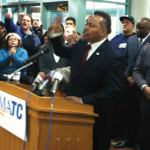 State Senator Spencer Coggs (D-Milwaukee) spoke at a press conference at MATC surrounded by area community leaders, students and supporters of the school to discuss the State Repubican's 11th hour attempt to gut the MATC Board. (Photo provided by MATC)