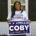 Millie Coby candidate for the 10th State Assembly District takes a pause from her doorto- door canvassing. The election is August 14, 2012. (Photo by Robert A. Bell)