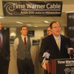 State Rep. Jon Richards, Mayor Tom Barrett and State Senator Chris Larsen joined representatives of Time Warner Cable announcing the 200 jobs that are being sought after by the company. The announcement was made last Friday at the Time Warner offices on King Drive. (Photo by Robert A. Bell)