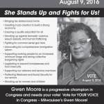Vote Democrat & Re-elect Gwen Moore on August 9th