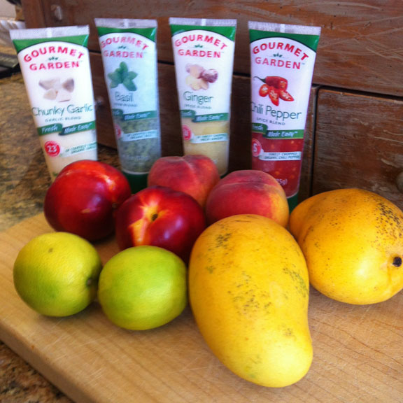 fruits and seasonings for mango salsa