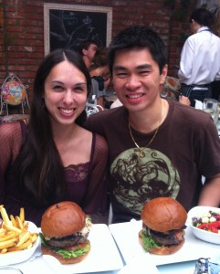 Allison and Son with sushi burgers