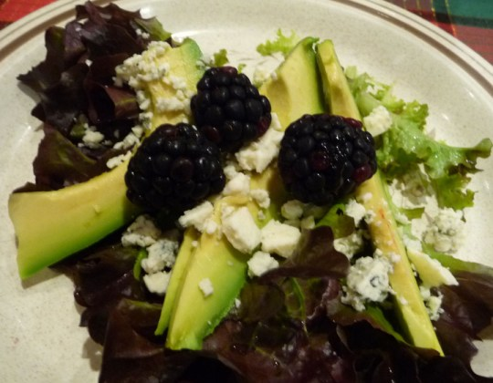 blackberry Fuerte avocado salad
